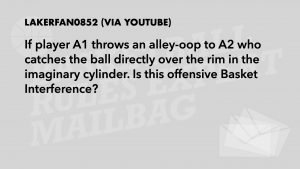 A2 catches the ball in the imaginary cylinder