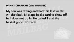Q3 - B1 slaps backboard. Ruled a T and goal scored